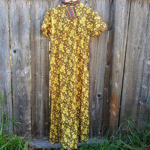 Vintage 1960s Yellow Sunflower Maxi Dress & Purse